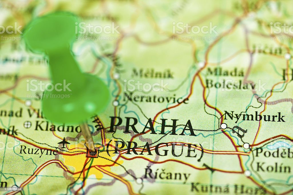 Prague map with push pin royalty-free stock photo