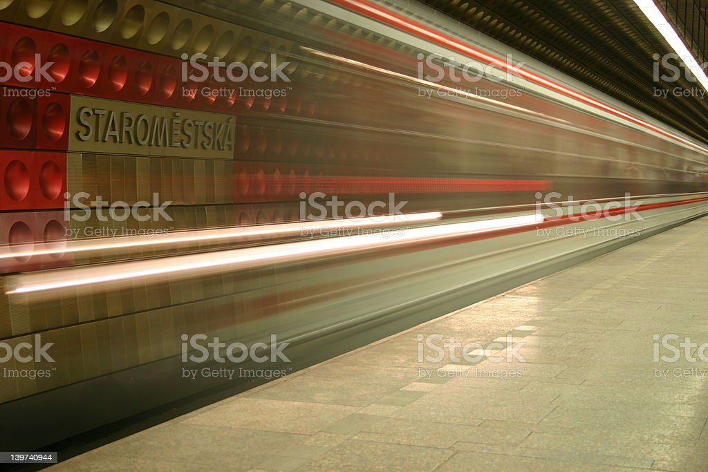 Prague Metro in Motion stock photo