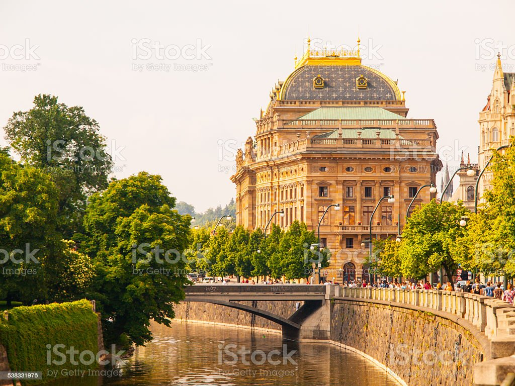 Prague National Theater on sunny day stock photo