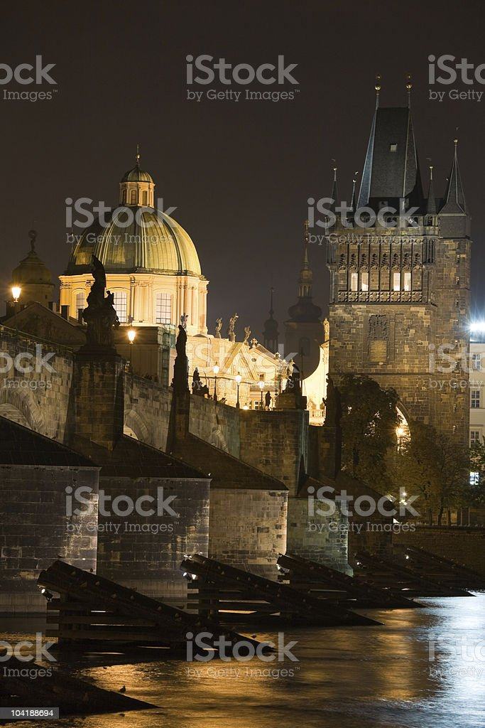 Prague night scenery stock photo