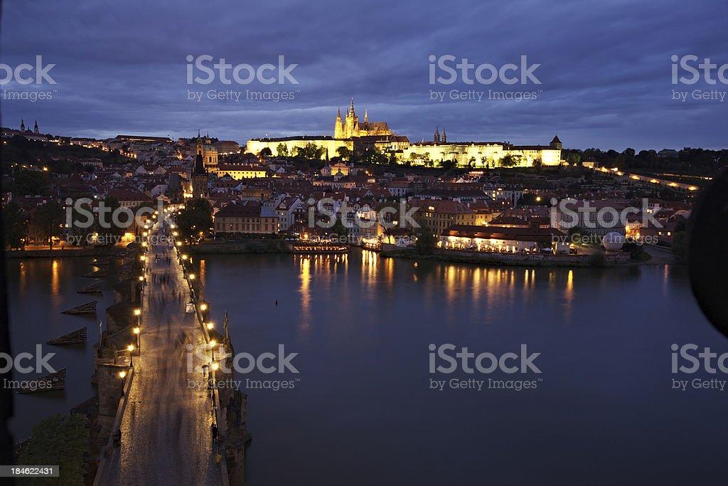 Prague night view stock photo