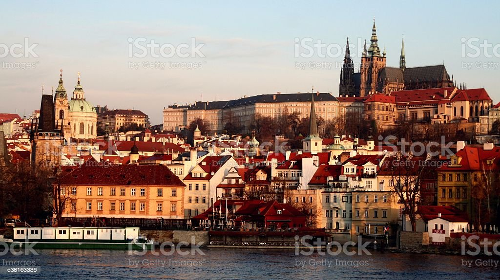 Prague old town cityscape at morning Hradcany castle St. Vitus stock photo