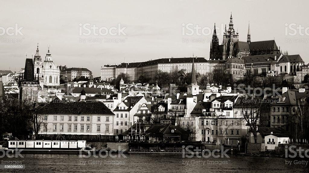 Prague old town cityscape St. Vitus Hradcany castle St. Nicholas stock photo