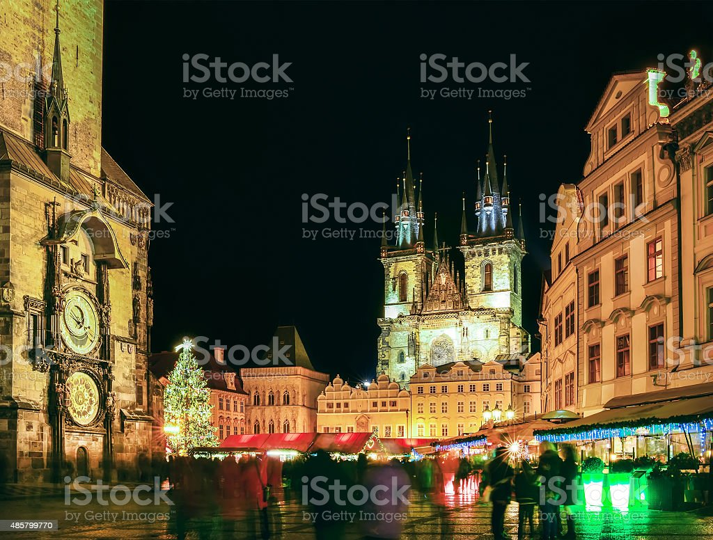 Prague Old Town Square during Christmas time, night scape stock photo