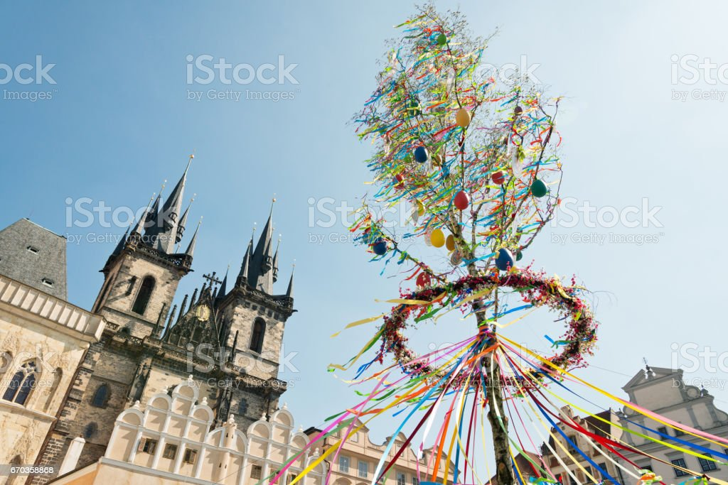 Prague Old Town Square - Easter Decoration in front of the Tyn Church stock photo
