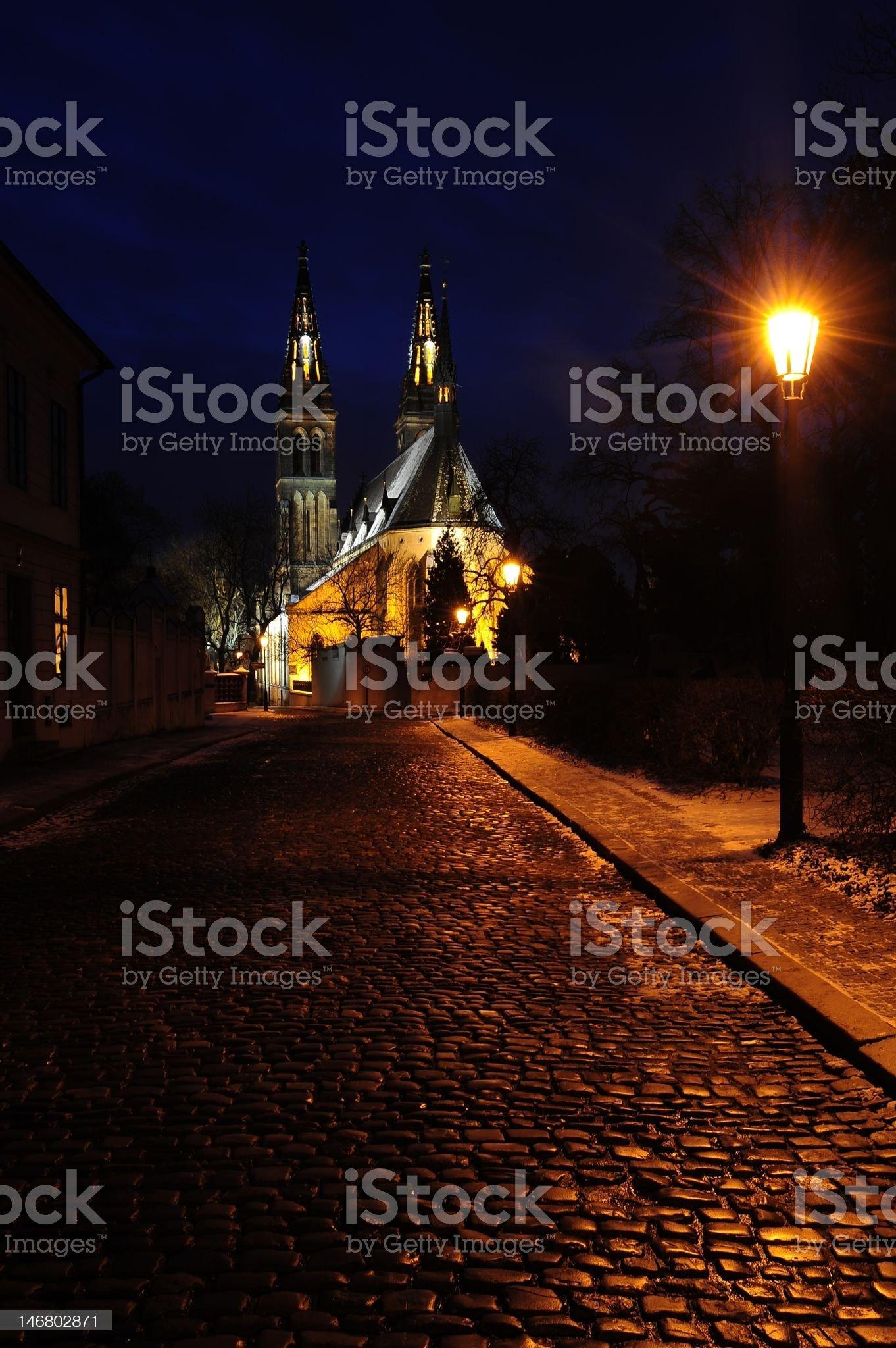 Prague Old Town street at night royalty-free stock photo