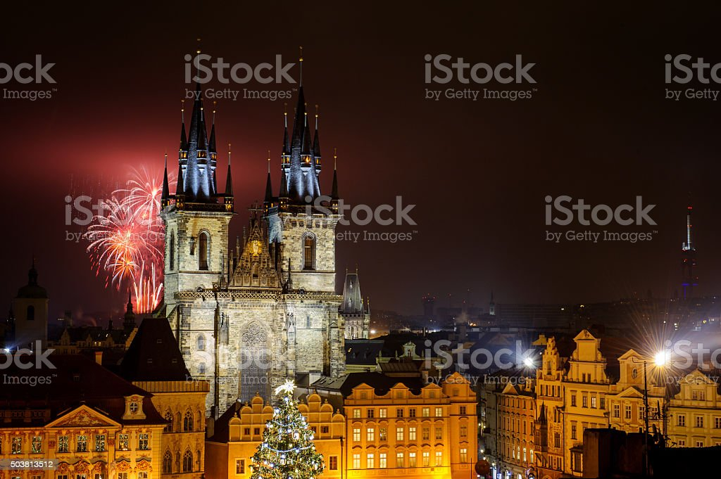 Prague old town with fireworks in the night stock photo