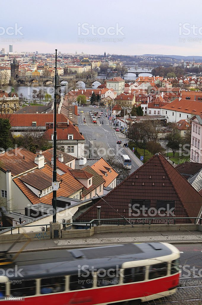 Prague - old tram in motion blur royalty-free stock photo