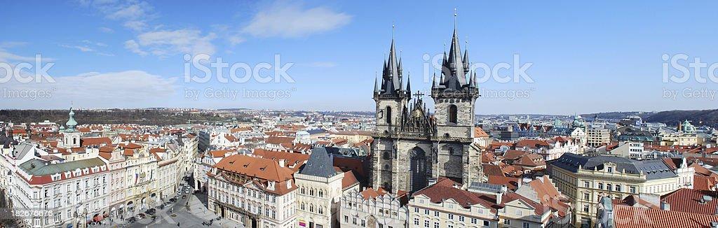 Prague panoramic skyline with Tyn Church stock photo