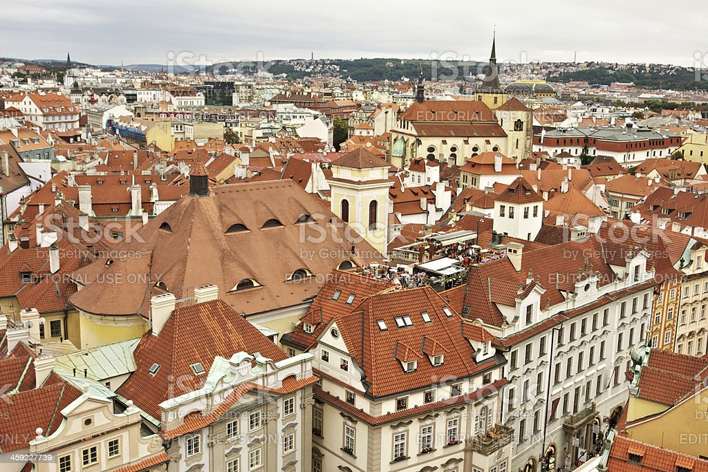 Prague red roofs cityscape. royalty-free stock photo