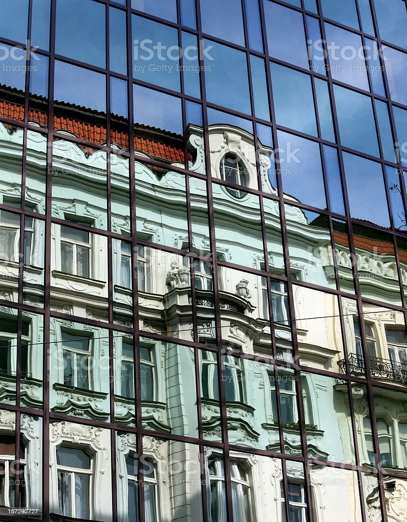 Prague Reflections Old Architecture in Modern royalty-free stock photo