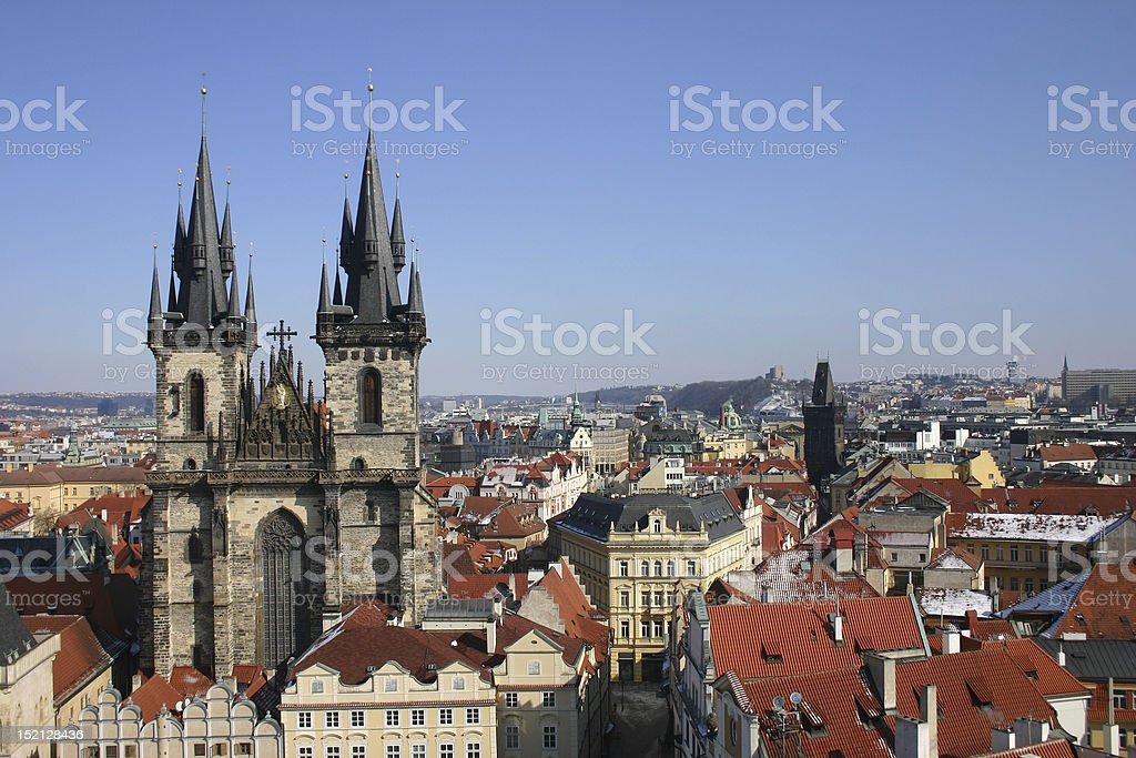 Prague roof tops and churches, czech republic royalty-free stock photo