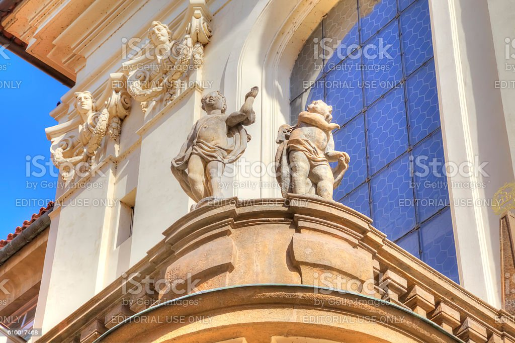 Prague. Sculptures on the facade of ancient house stock photo