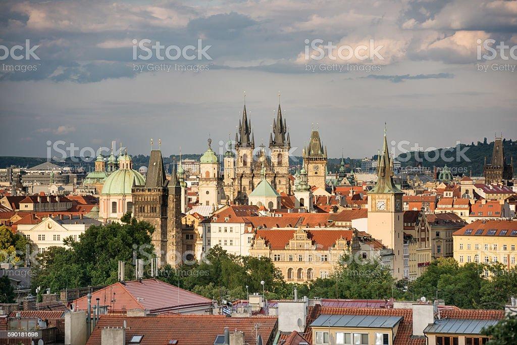 Prague Skyline at Sunset, Czech Republic stock photo