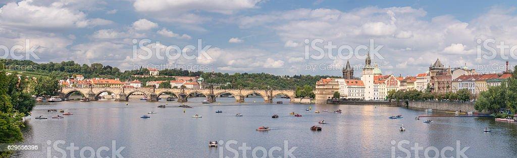 Prague Skyline with the famous Charles Bridge and Vltava River stock photo