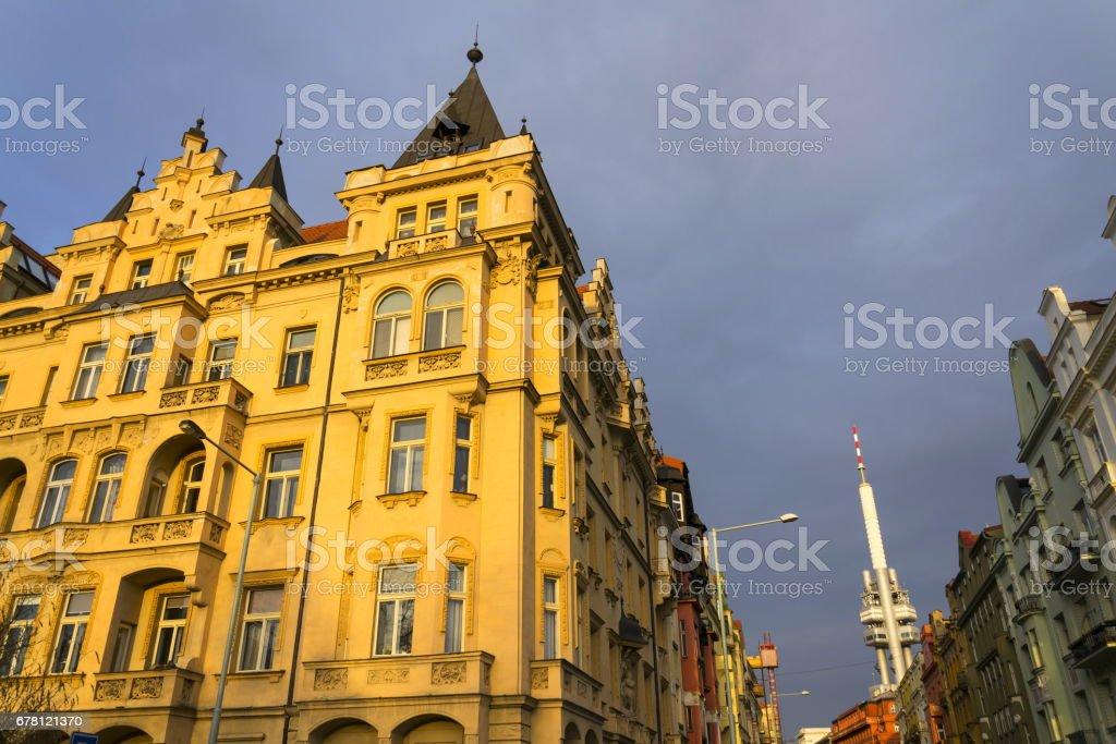Prague skyline with Zizkov television tower transmitter stock photo
