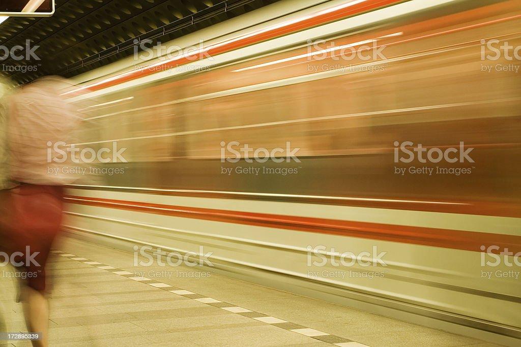 Prague subway - motion blur royalty-free stock photo