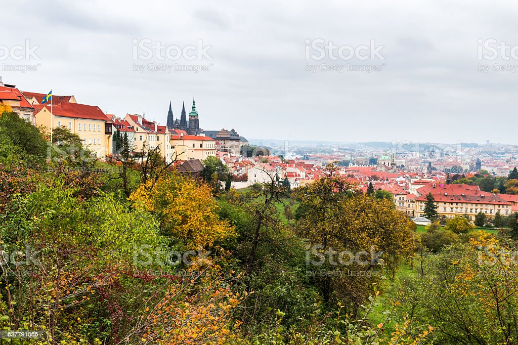 Prague, the Castle and St. Vitus Cathedral. Czech Republic stock photo