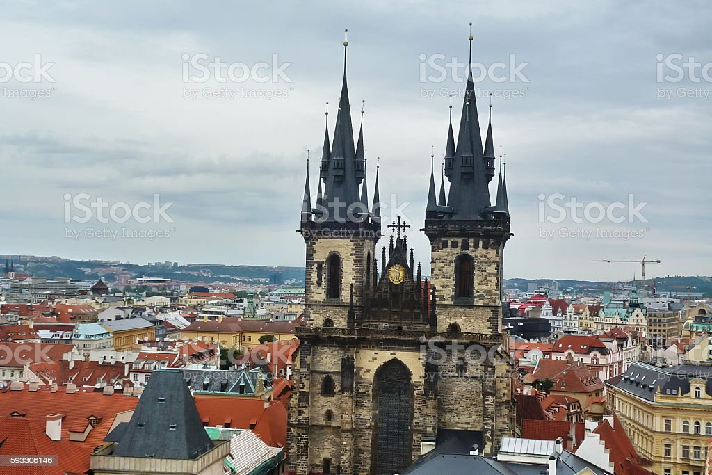 Prague, top view of church of our lady before Tyn stock photo