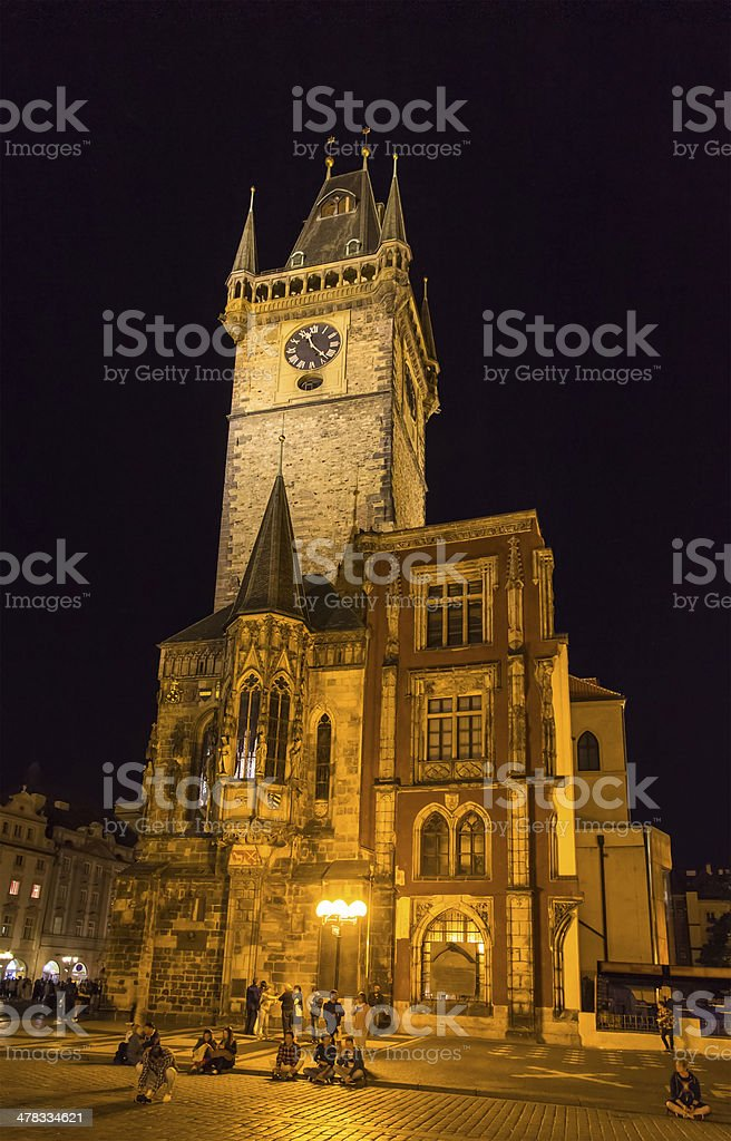 Prague town hall at summer night - Cheque royalty-free stock photo