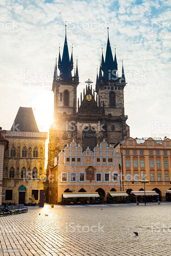 Prague. Tyn Cathedral of the Virgin Mary at sunrise. stock photo