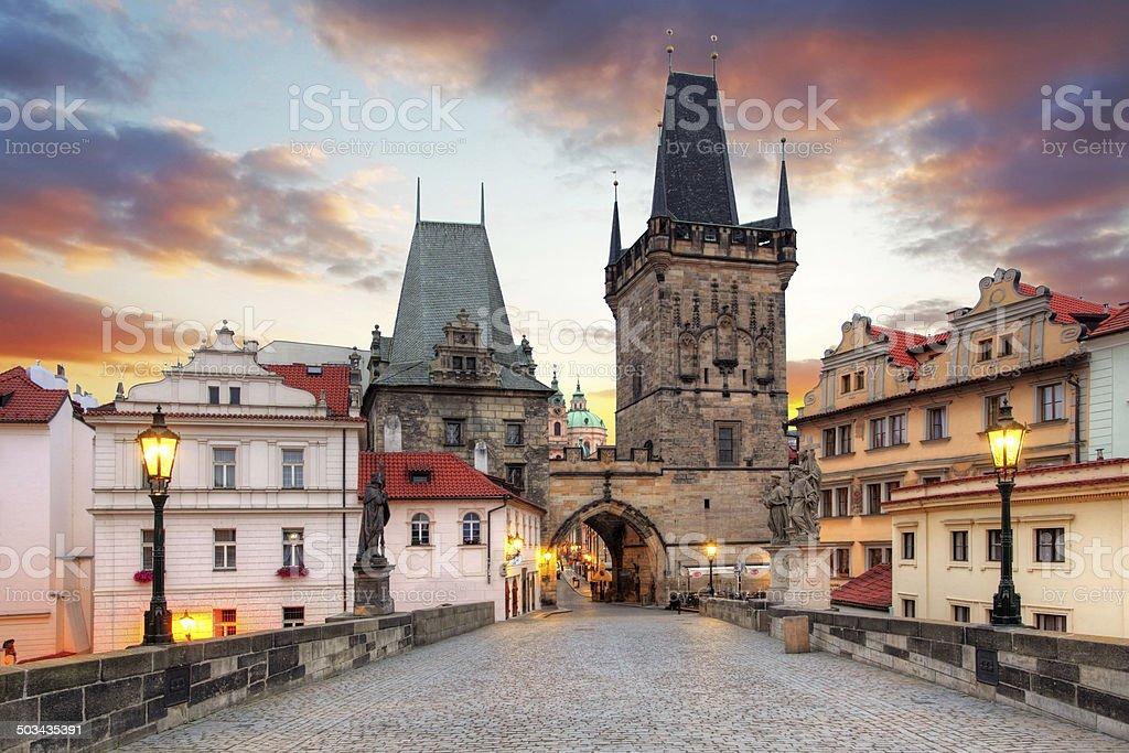 Prague View from Charles Bridge stock photo