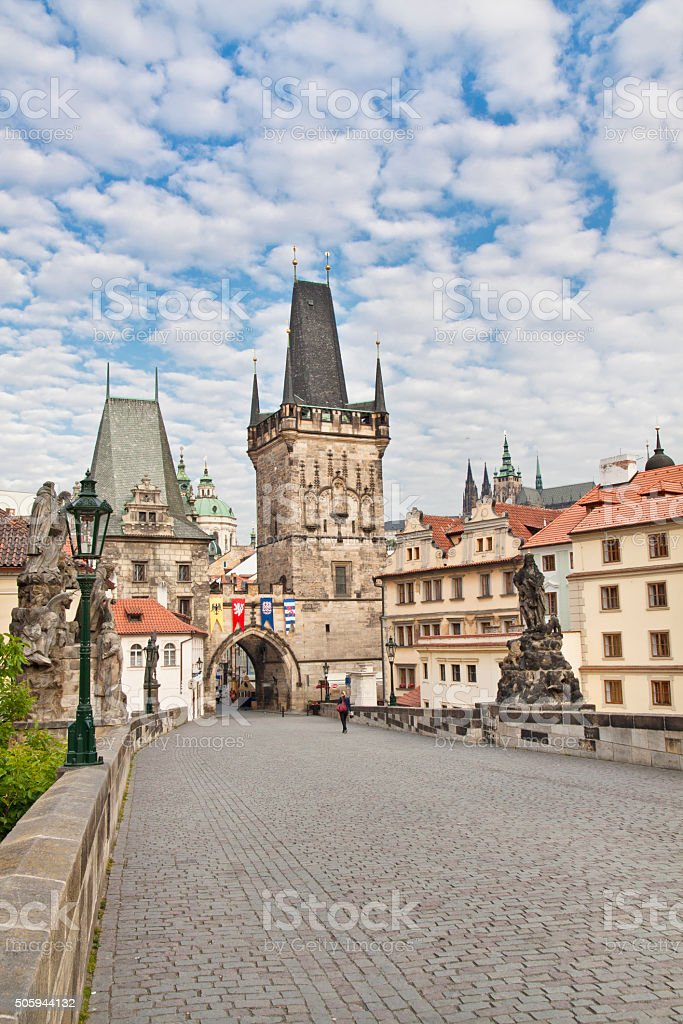Prague. View from the Charles Bridge to the Little Quarter Bridge Tower stock photo