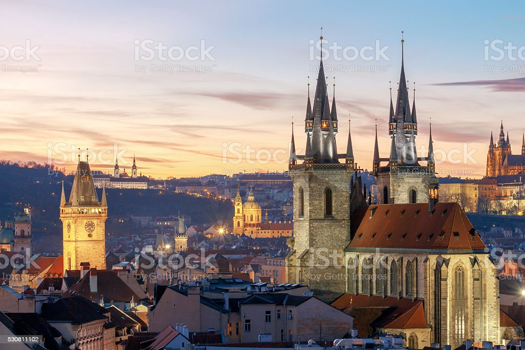 Prague. View of the city at sunset stock photo