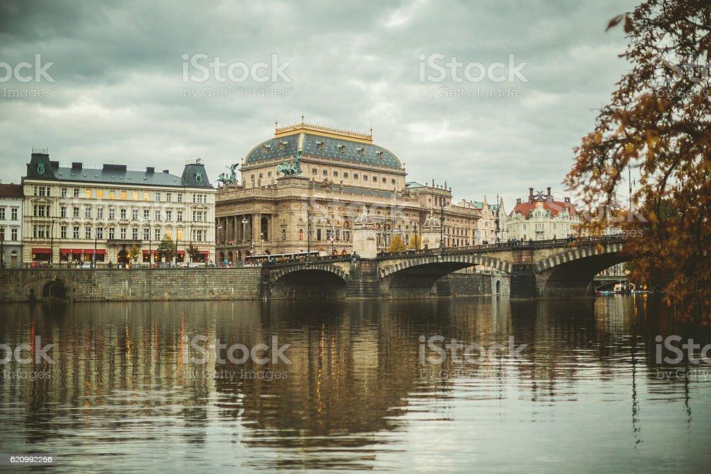 Prague view of the Legli bridge stock photo
