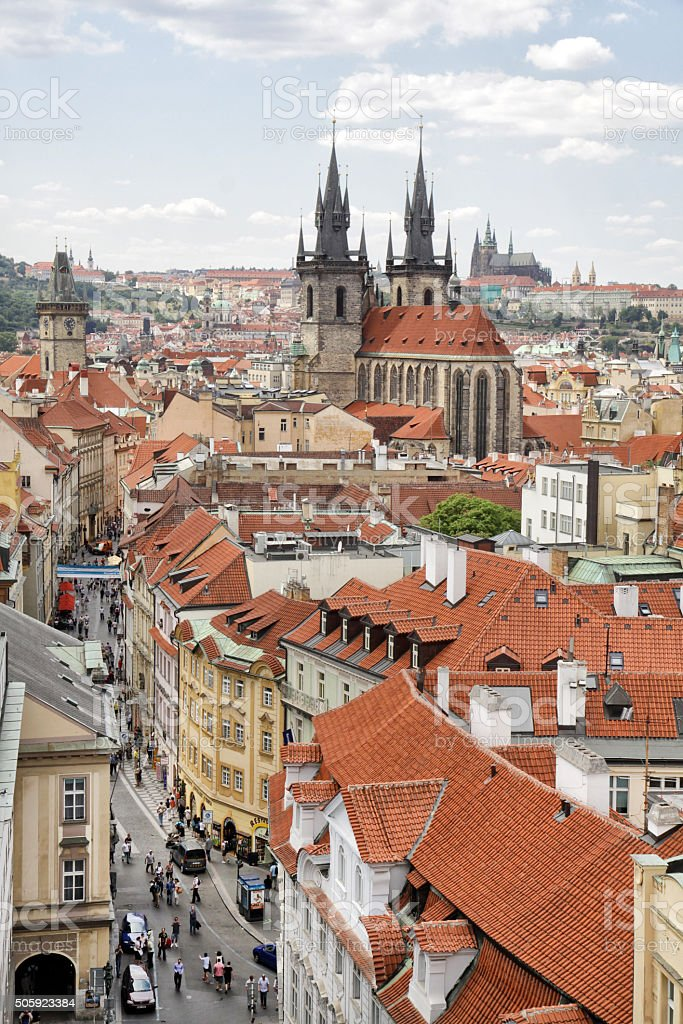 Prague. View to the Church of Our Lady before Týn stock photo
