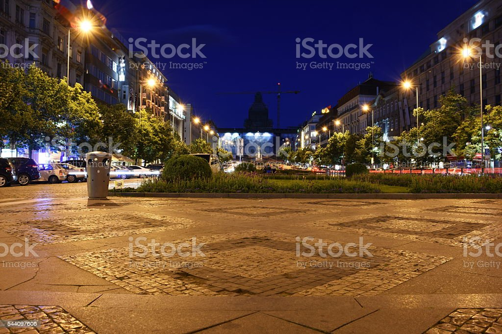 Prague Wenceslas Square at night, Czech republic stock photo