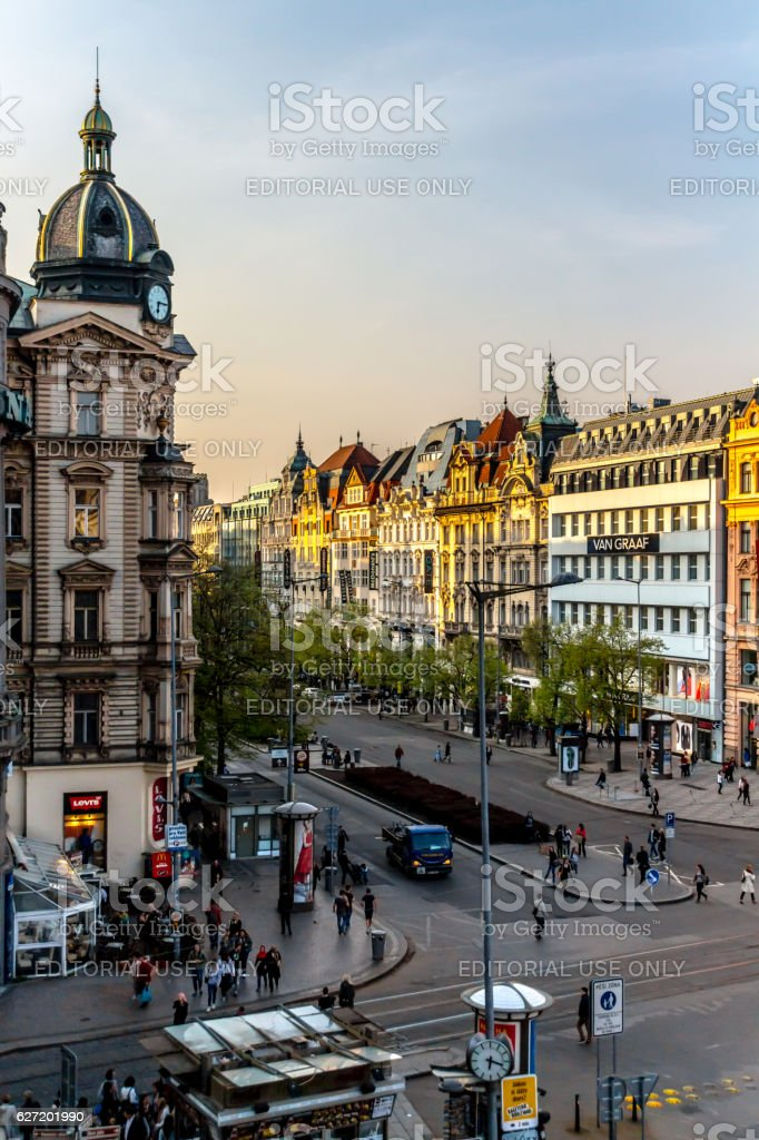 Prague, Wenceslas Square stock photo