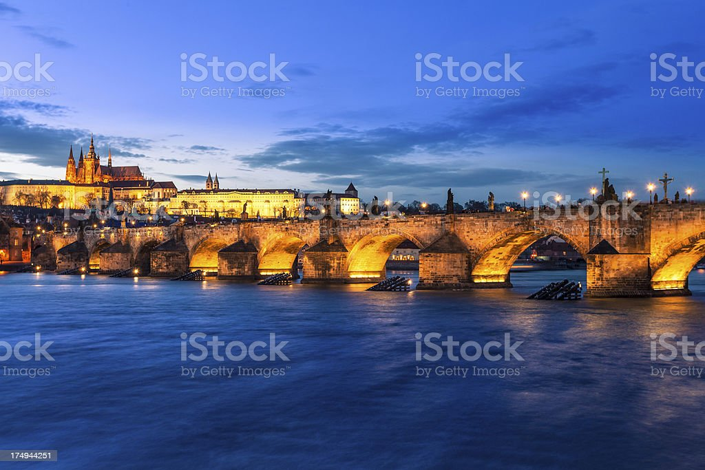 Prague with Castle and Charles Bridge at Dusk royalty-free stock photo