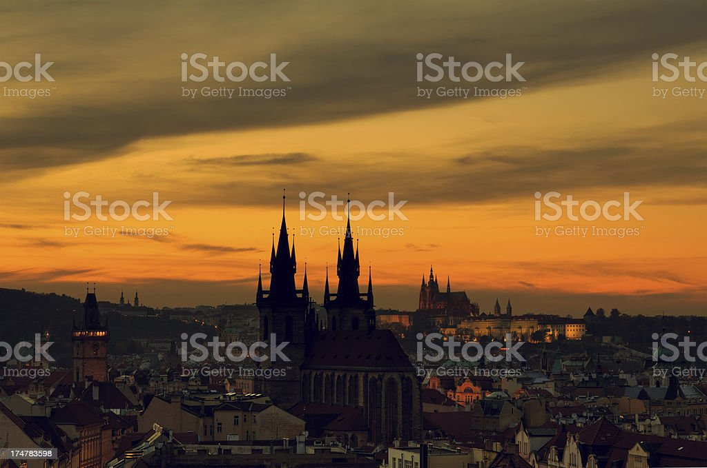 Prague With Tyn Church Silhouette royalty-free stock photo