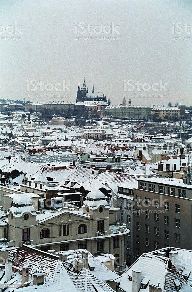 Prague's castle in snow. royalty-free stock photo