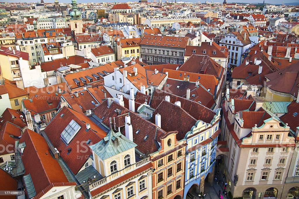 Prague's red roofs royalty-free stock photo