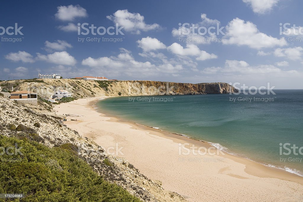 Praia da Mareta beach on Portugal's Algarve coast in Sagres stock photo