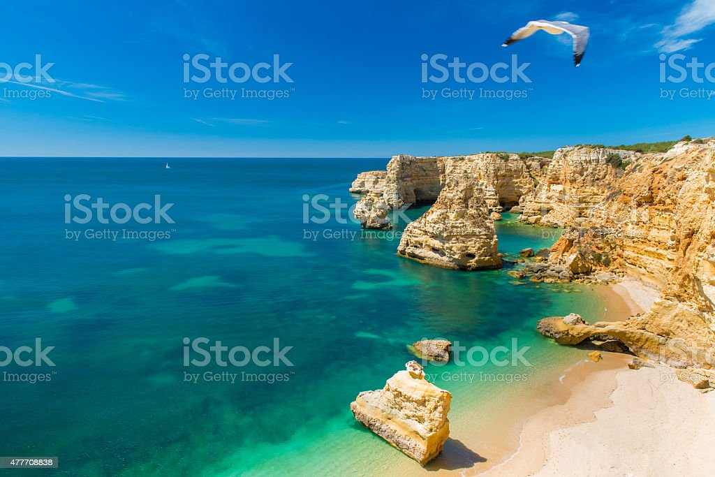 Praia da Marinha - Beautiful Beach Marinha in Algarve, Portugal stock photo