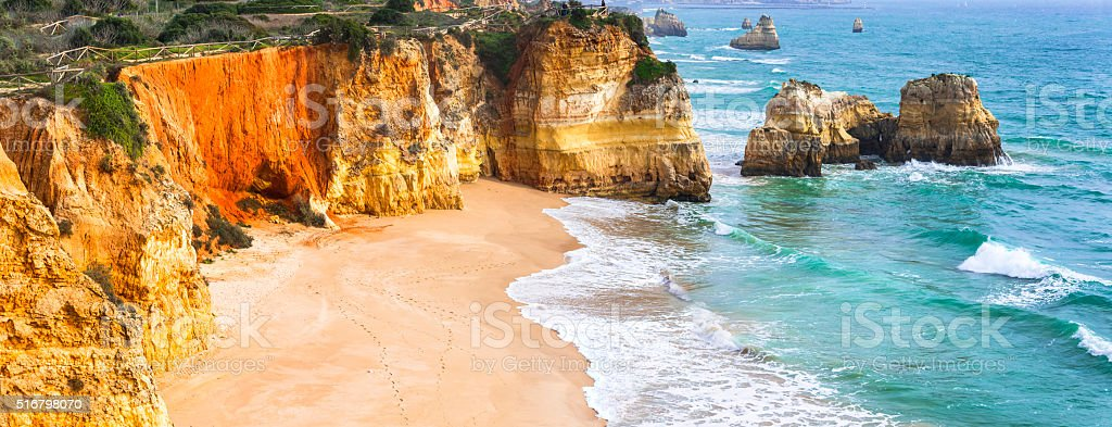Praia da rocha, beautiful beach,Algarve, Portugal stock photo