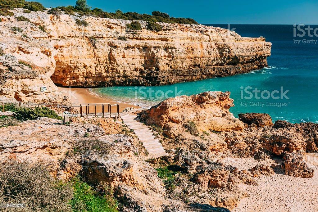 Praia de Albandeira, located in Lagoa, Algarve, Portugal. stock photo