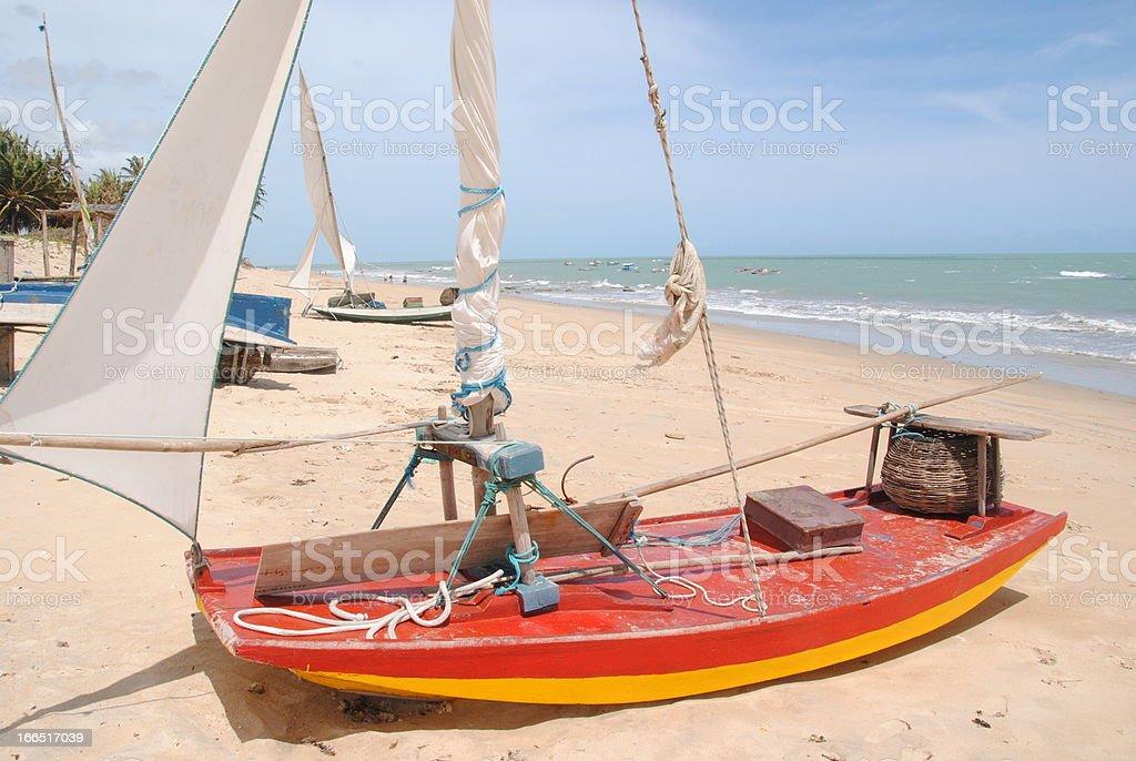 Praia de Exu Queimado - Boat on beach. stock photo