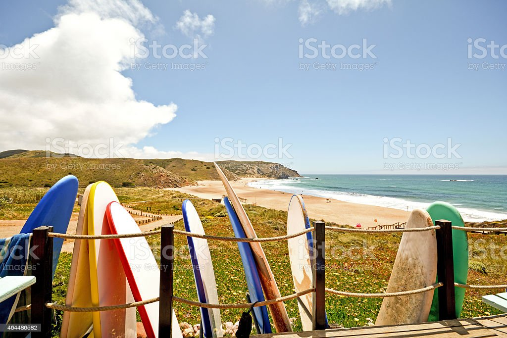 Praia do Amado, Beach and Surfer spot, Algarve Portugal stock photo
