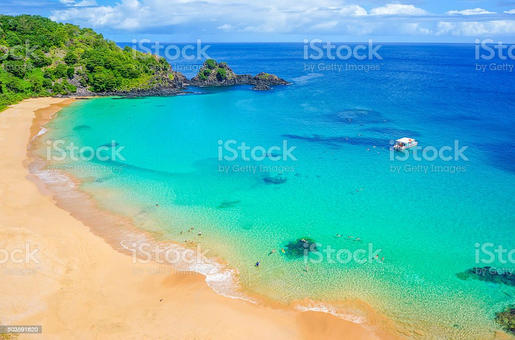 Praia do Sancho colorful beach in Fernado de Noronha, Brazil stock photo
