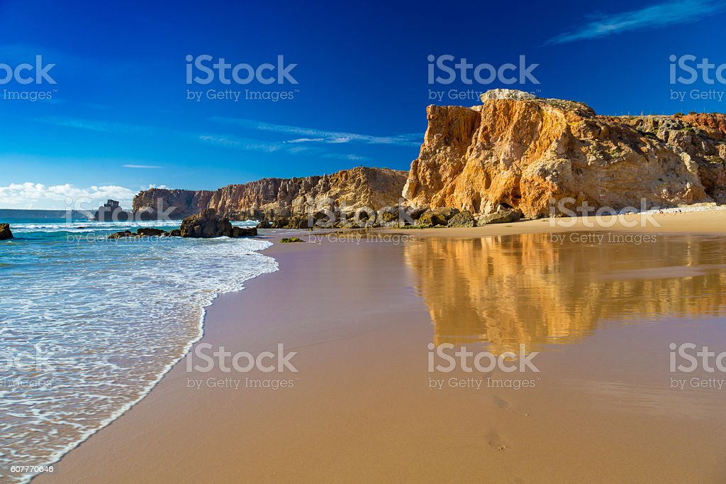 Praia Do Tonel, small isolated beach in Alentejo, Sagres, Portugal stock photo