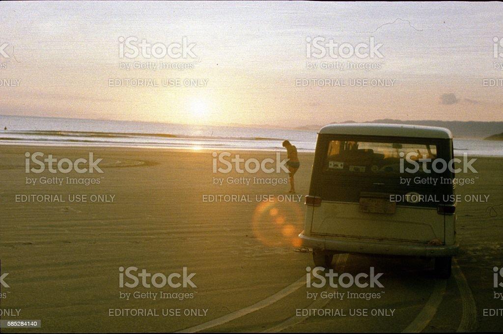 Praia Grande beach, Brazil 1976 stock photo