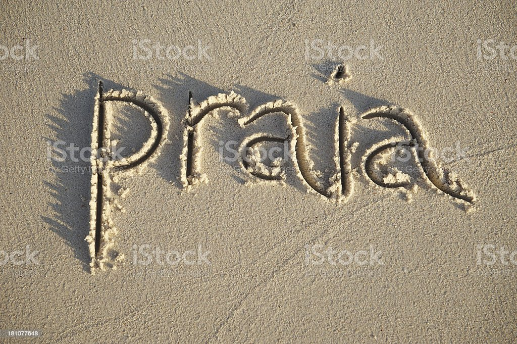 Praia in Brazil is Portuguese for Beach Sand Text stock photo