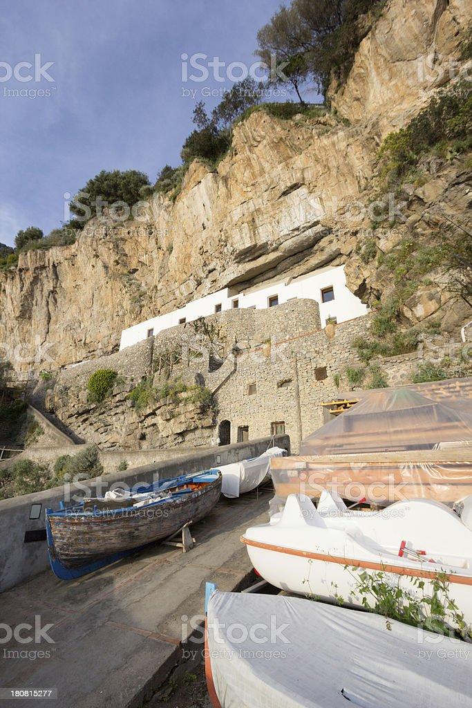 Praiano Beach on the Amalfi Coast, Italy royalty-free stock photo