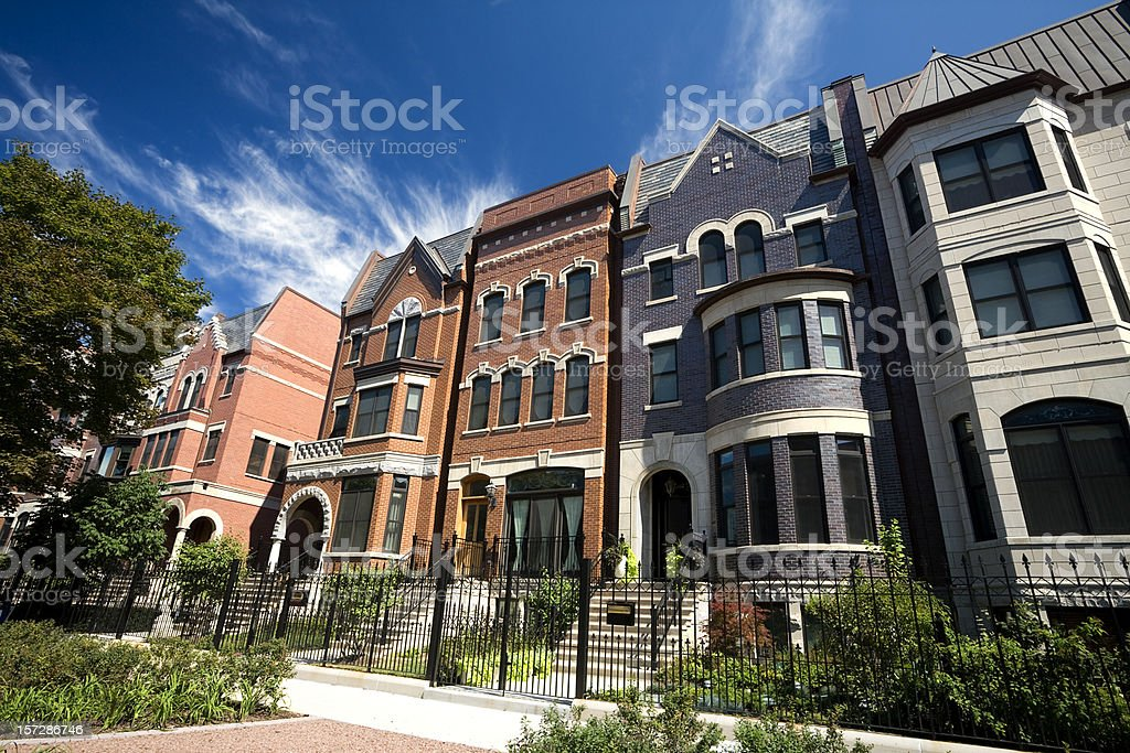 Prairie Avenue Mansions in Chicago stock photo