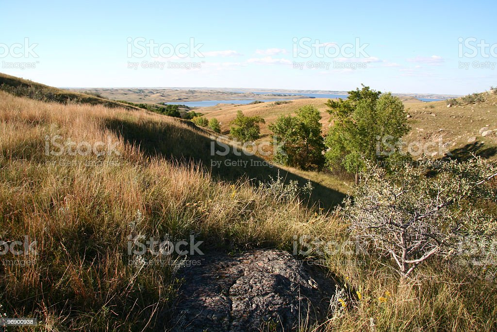 Prairie Coulee Scene stock photo