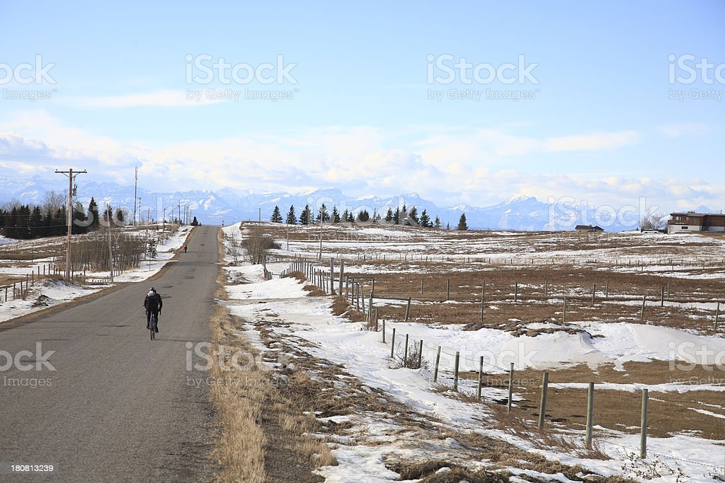 Prairie Country Day With Mountains And Snow royalty-free stock photo